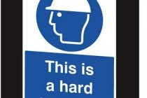 Hard hat warning for golf club employees
