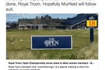 Royal Troon widely praised for admitting women