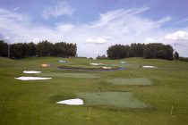 This driving range has built a replica of the 17th hole at TPC Sawgrass
