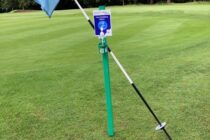 Golf club installs sanitiser station next to every green for flags to rest on