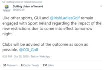 All Republic of Ireland golf clubs must close for six weeks